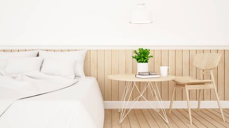 pendent: White bedroom or guestroom of hotel minimal design - 3d Rendering Stock Photo