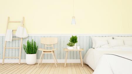 bedroom and living pastel design - 3d Rendering Stock Photo