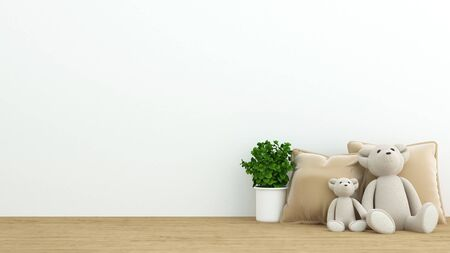floor plant: Teddy bear and pillow in coffee shop or kid room - 3D Rendering