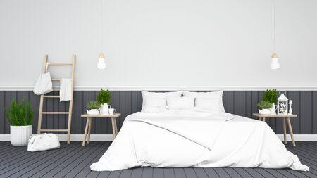 Chambre noire ou chambre d'hôtel - rendu 3D Banque d'images - 77595847