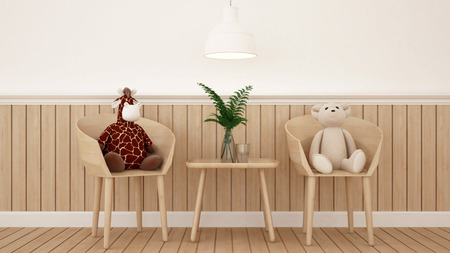 bea and giraffe doll in dining room or kid room - 3D Rendering