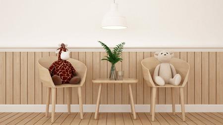 Bea en Giraffe pop in eetkamer of kinderkamer - 3D Rendering Stockfoto