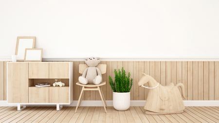 teddy bear on chair in kid room or coffee shop - 3D Rendering