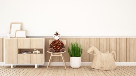 giraffe doll on chair in kid room or coffee shop - 3D Rendering