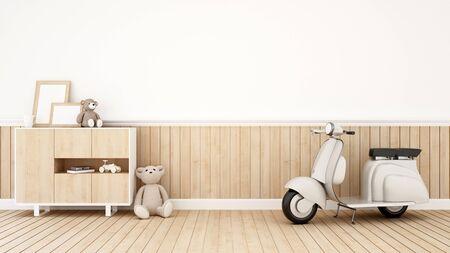 living room design: teddy bear and motorcycle in kid room or Living room - 3D Rendering