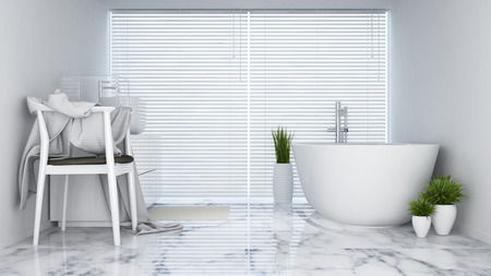 living room design: bathroom white tone in hotel or apartment - 3D Rendering Stock Photo
