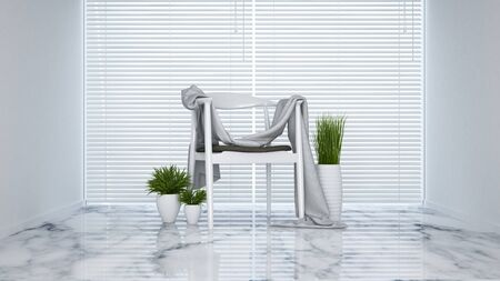 condo: white chair in living room - 3D Rendering