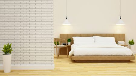 condominium: bedroom and living area in condominium or hotel -3d rendering Stock Photo