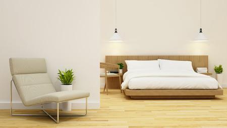 bedroom and living area in condominium or hotel -3d rendering Stock Photo