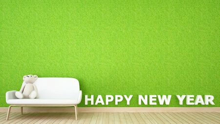 decoration grass wall in kid room for happy new year - 3D Rendering
