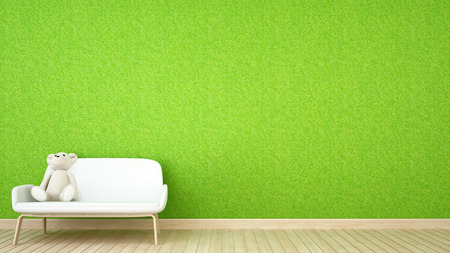 kid room or Living room and grass wall - 3D Rendering Stock Photo