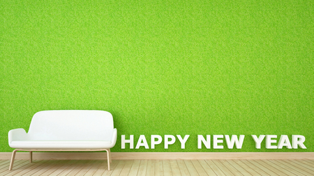 decoration grass wall in living room for happy new year - 3D Rendering
