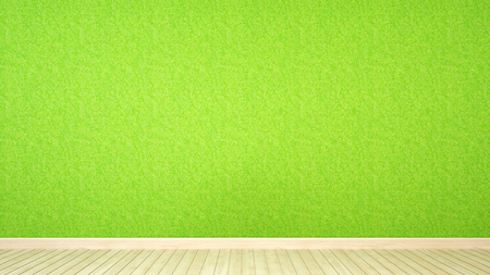 grass wall and wood floor in room for artwork - 3d rendering Stock Photo