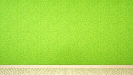 grass wall and wood floor in room for artwork - 3d rendering Stock fotó