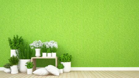 living area and indoor garden in coffee shop - 3D Rendering