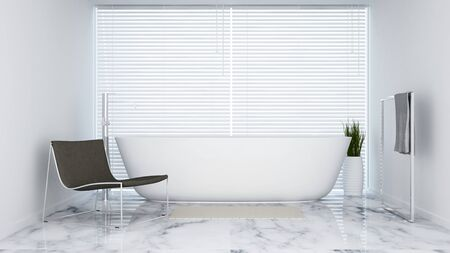 bathroom white tone in  hotel or apartment - 3D Rendering