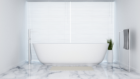 bathroom white tone in apartment  or hotel - 3D Rendering Stock Photo
