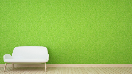white sofa and grass wall in living room - 3D Rendering
