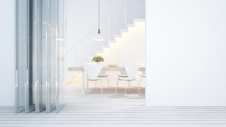 dining area white tone in home or condominium - 3D Rendering 스톡 콘텐츠