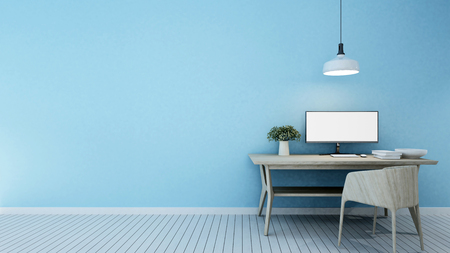 workspace blue tone in home or apartment - 3D Rendering