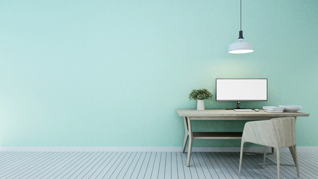 workspace green tone in home or apartment - 3D Rendering Stock Photo