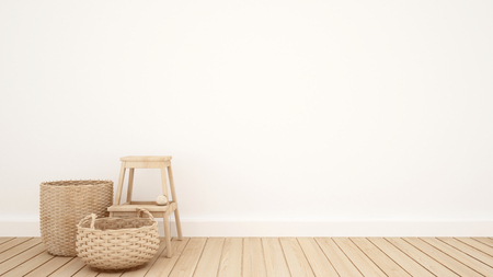 wicker basket and stool in the white room for artwork - 3D Rendering