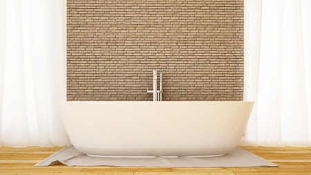 bathroom brick wall decorate in home or apartment-3D Rendering Stock Photo
