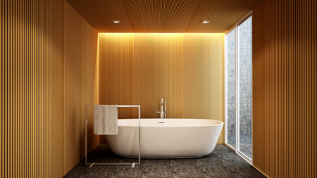 bathroom and outdoor view for artwork of hotel or apartment , Interior Design - 3D Rendering Stock Photo