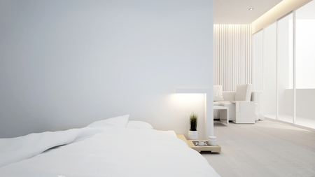 bedroom and living room in apartment or hotel - Interior design - 3D Rendering Stock Photo