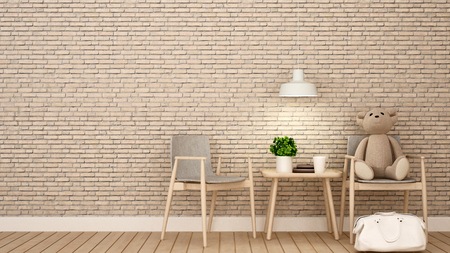 teddy bear on chair in kid room or coffee shop , brick wall decorate - 3D Rendering Banque d'images - 111019846