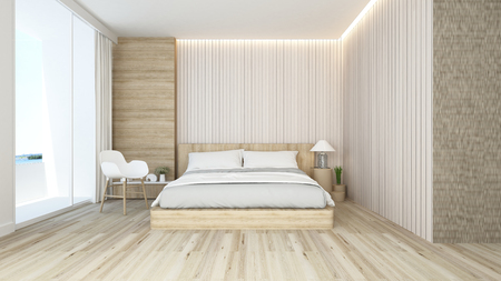 bedroom and living area in hotel or apartment - interior design - 3D Rendering Banque d'images - 111019847