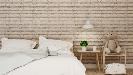 kid room or bedroom in home or apartment - interior design - 3D Rendering Banque d'images - 111019849