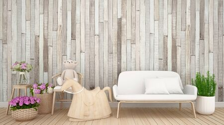 teddy bear on armchair with flower and wood wall in kid room or nursery - 3D Rendering Banque d'images - 129066524