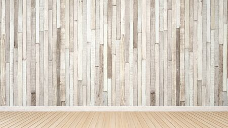 empty room and wood pattern decoration for artwork - Interior Design - 3D Rendering