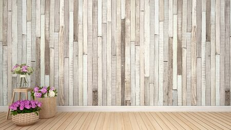 flower decoration in empty room.Interior Design.vintage style - 3D Rendering