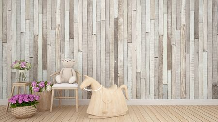 teddy bear on chair and rocking horse in kid room or nursery - Interior Design - 3D Rendering Banque d'images - 129106858