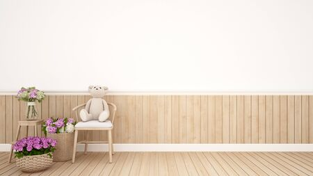 teddy bear on chair in kid room or nursery - Interior Design - 3D Rendering Banque d'images - 129106854