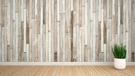 plant in empty room for artwork - Interior design - 3D Rendering Stok Fotoğraf