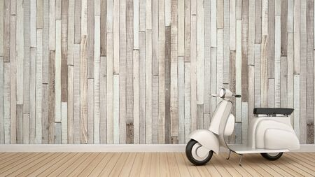 vintage motorcycle in empty room for artwork - Interior design - 3D Rendering Stok Fotoğraf