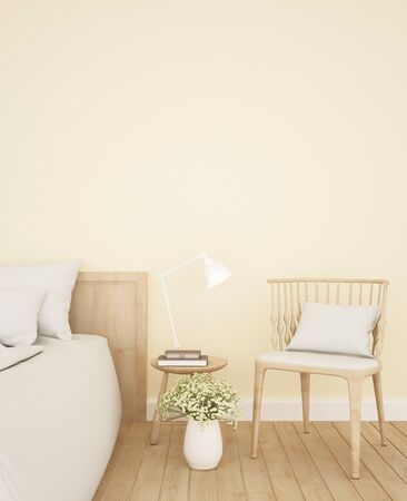 bedroom and living area yellow tone in apartment or hotel - Interior Design - 3D Rendering Banque d'images - 129024892