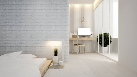 bedroom and workplace in hotel or apartment - Interior design - 3D Rendering Banque d'images - 129024893