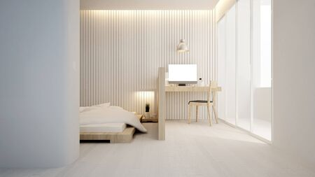 workplace and bedroom in hotel or apartment - Interior design - 3D Rendering Banque d'images - 129024901