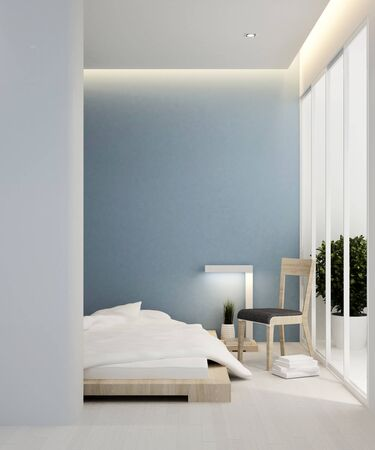 bedroom blue tone and balcony in hotel or apartment - Interior design - 3D Rendering
