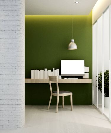 workplace green tone in hotel or apartment - Interior design - 3D Rendering Banque d'images - 129024908