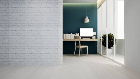 workplace blue green tone in hotel or apartment - Interior design - 3D Rendering Banque d'images - 129024911