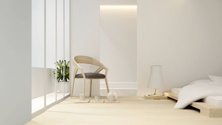 bedroom and balcony in hotel or apartment - Interior design - 3D Rendering Reklamní fotografie