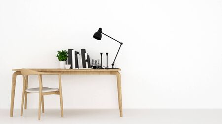 workspace in white background for artwork house or apartment - 3D Rendering Banque d'images - 129024926