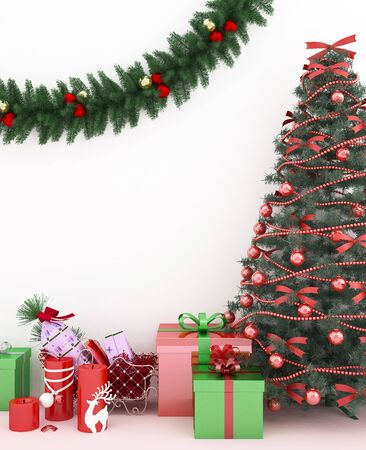 Christmas tree and gift in living room -  artwork for Christmas day - 3D Rendering
