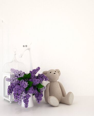 teddy bear with vase of purple and bird cage in kid room for artwork - 3D rendering Archivio Fotografico - 129024932