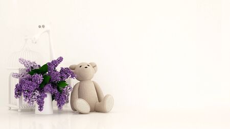 teddy bear with vase of purple and bird cage in kid room for artwork - 3D rendering